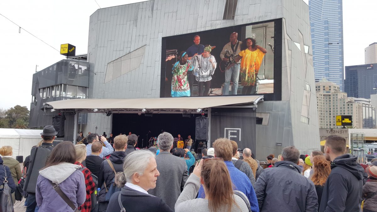 Public Opinion Afro Orchestra perform at the Festival of Welcome, Federation Square.