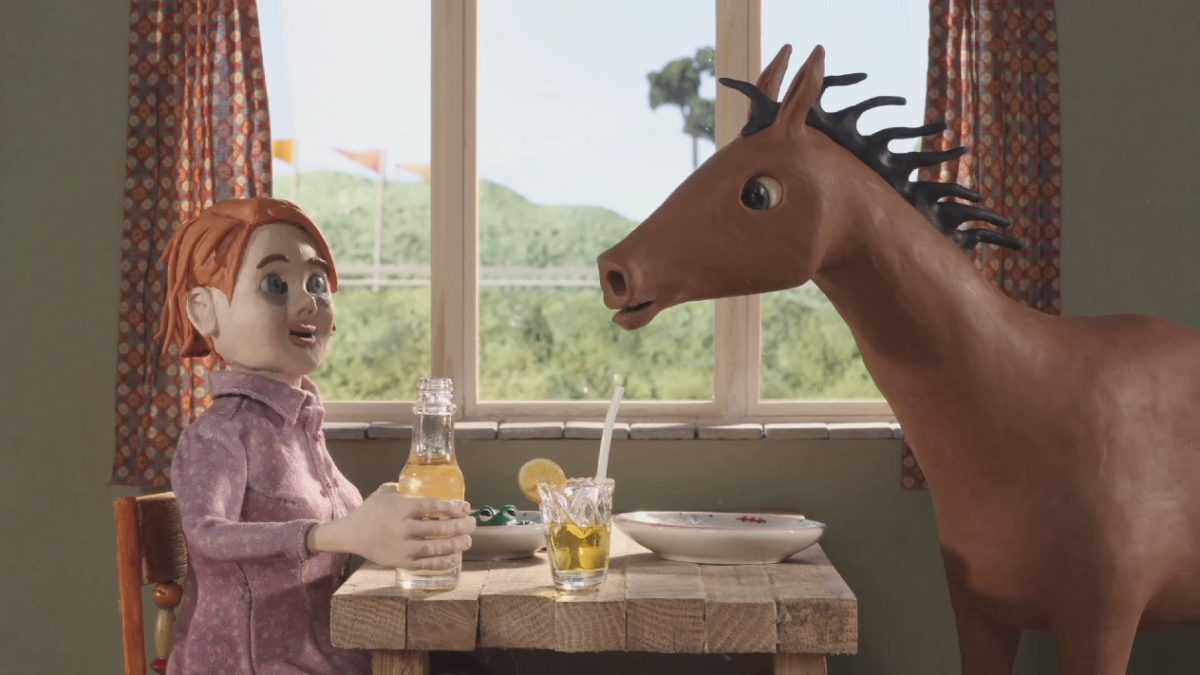 Pineapple calamari. Clay animation depicting a horse and girl in discussion while sipping drinks.