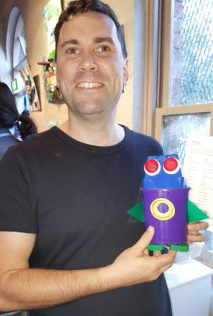 Port Melbourne resident Chris created a plastic penguin when he participated in the Skillsfest Creatures of the Bay workshop