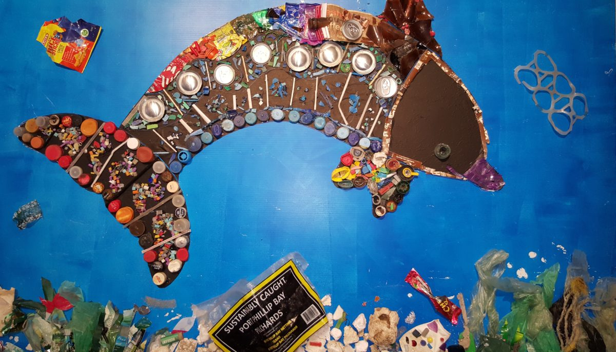 'Burrunan Dolphin' was created from 2000 pieces of rubbish collected and sorted by Grade 6 students at Albert Park Primary School under the guidance of teacher Rachel Lehrner
